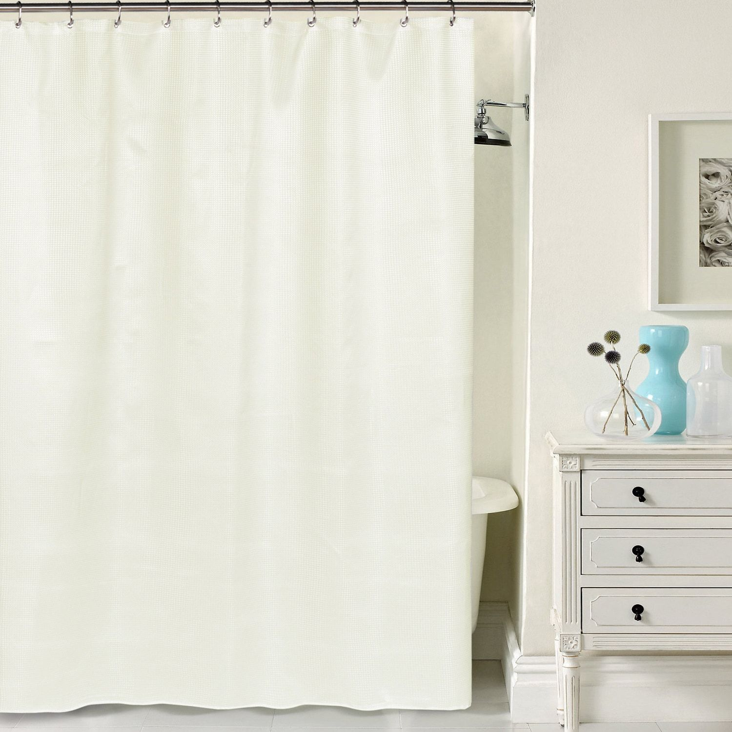 Hotel quality waffle weave fabric shower curtain products