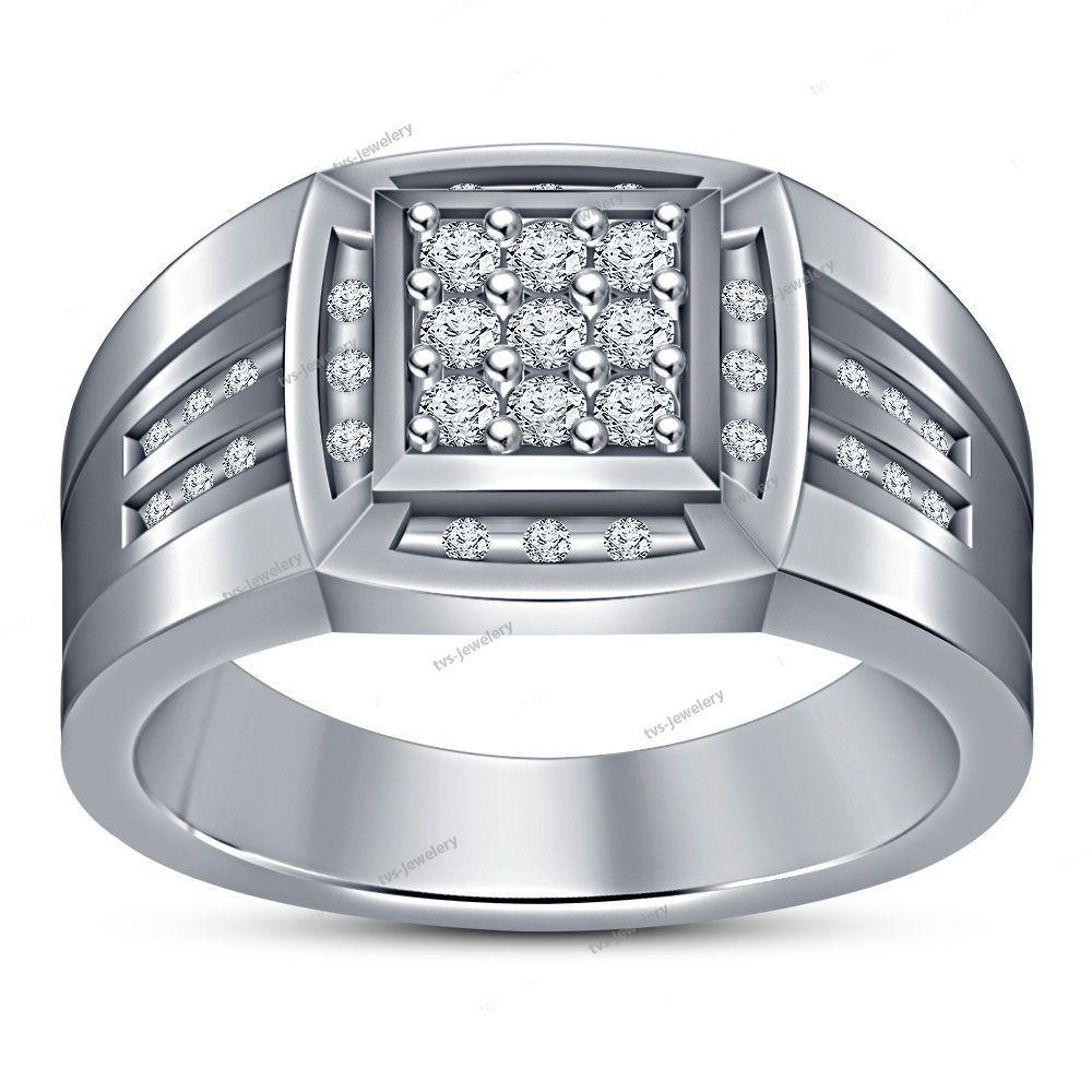 Men's 14K White Gold Round D/VVS1 Diamond In 925 Silver Wedding Band Ring 0.42Ct #tvsjewelery #WeddingBandRing #EngagementAnniversaryPromiseValentines
