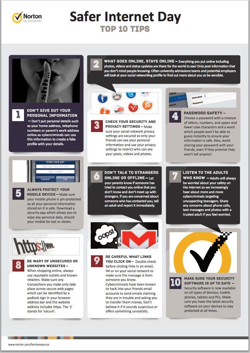 Infographic Safer Internet Day Norton S Top 10 Tips Safe Internet