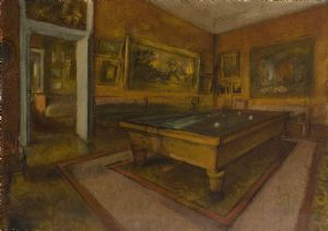 Degas, Edgar: Billiard Room at Ménil-Hubert. Fine Art Print/Poster. Sizes: A4/A3/A2/A1 (003740)