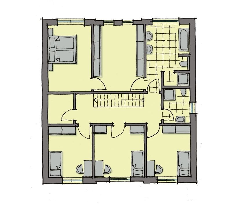 Stadtvilla Grundriss Obergeschoss mit Flachdach, 3 ...