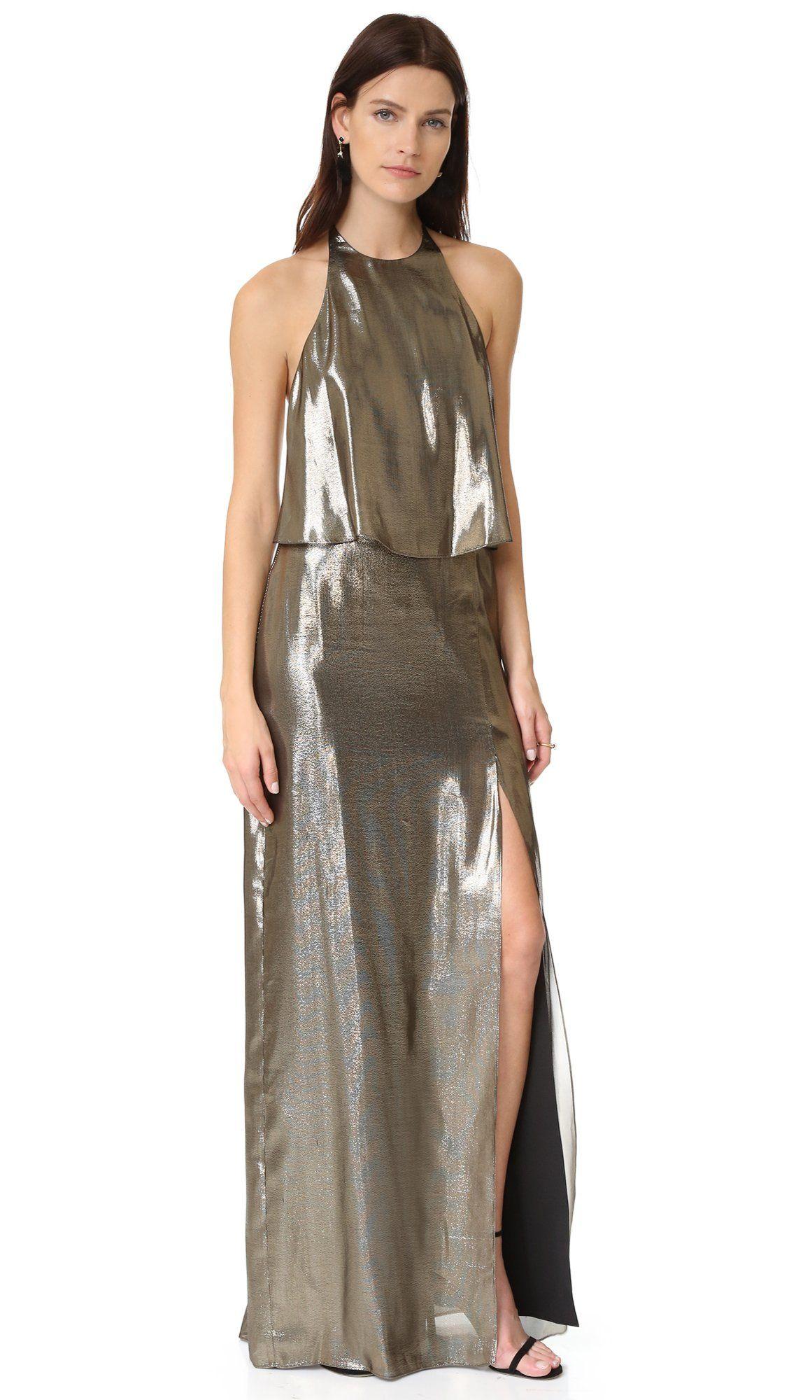 Halston Heritage Women\'s Halter Neck Metallic Gown, Antique Brass, 8 ...