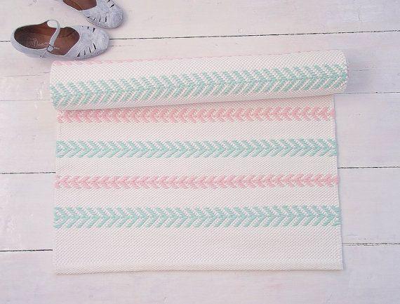 Baumwollteppich weiß  Weiß, Mint, Rosa Baumwolle Teppich, skandinavischen Kinderzimmer ...