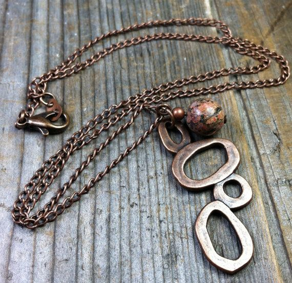 Animal Instinct Necklace  (antique copper, leopard skin jasper gem stone, simple, jewelry, by MySoulCanDance on Etsy