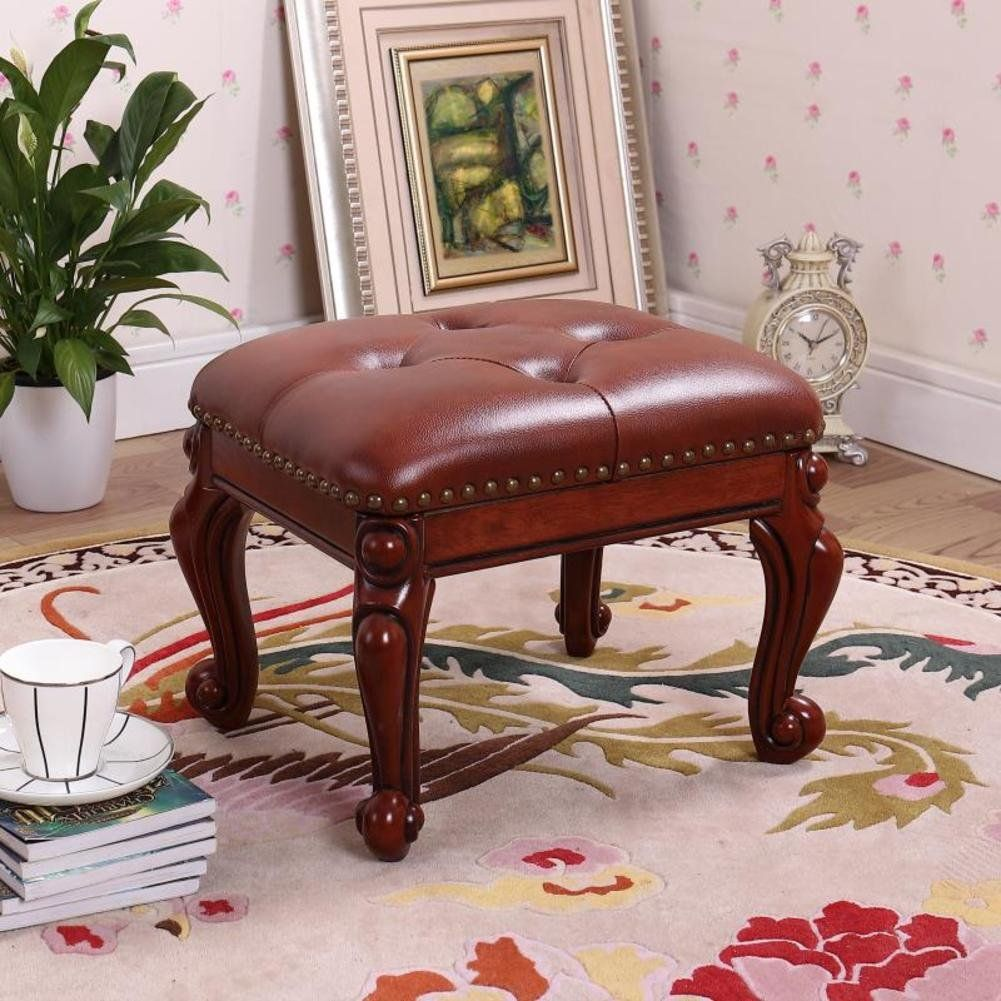 Hm Dx Small Upholstered Footstool Leather Footrest Stool With Button 4 Carved Wood Legs European Decor S Upholstered Footstool Leather Footstool European Decor
