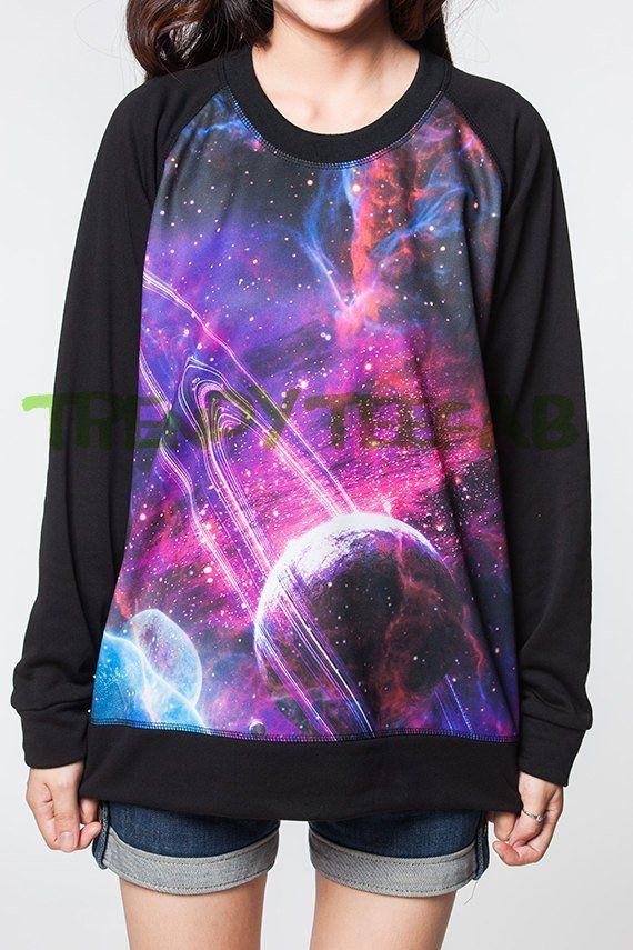 4acd7b8b392f Galaxy Sweatshirt Cosmic Universe Women Jumpers Black Sweater Tee Unisex  Shirts T-Shirt Size S