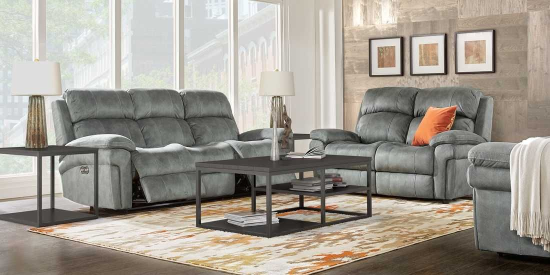 Glendale Charcoal 5 Pc Living Room With Reclining Sofa Rooms To