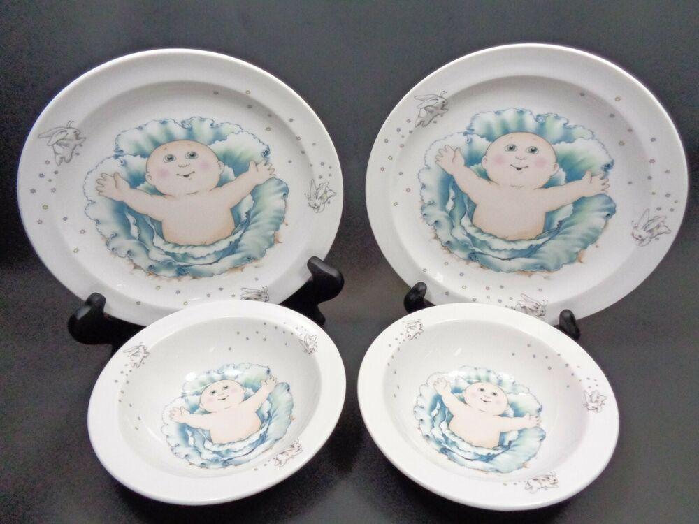 Vintage 1984 Royal Worcester Cabbage Patch Kids Ceramic Plate Bowl 4 Piece Set Royalworcester Childrens Ceramic Plates Cabbage Patch Kids Fitz And Floyd
