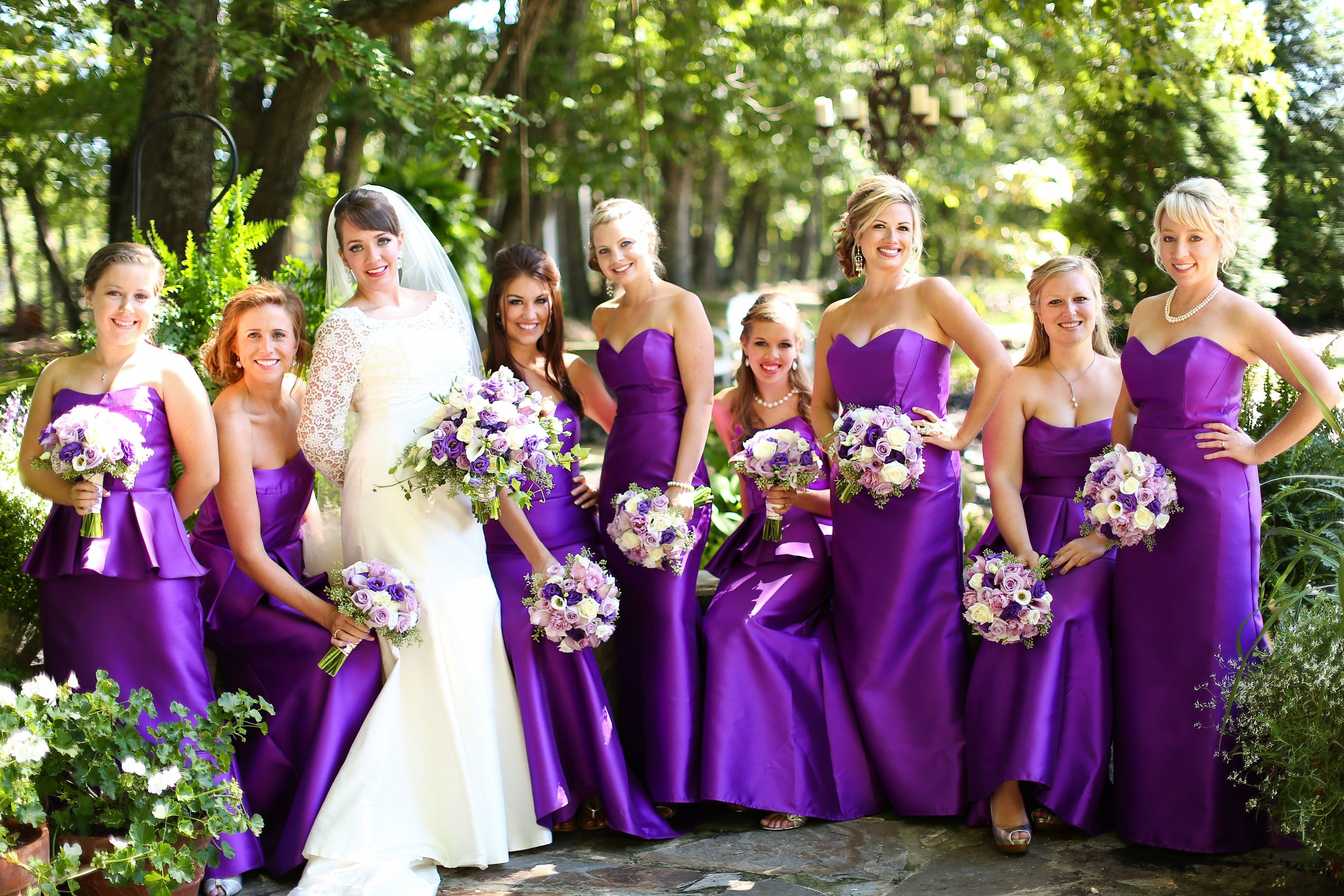 Sassi Holford bride...Alvina Valenta purple bridesmaids dresses ...