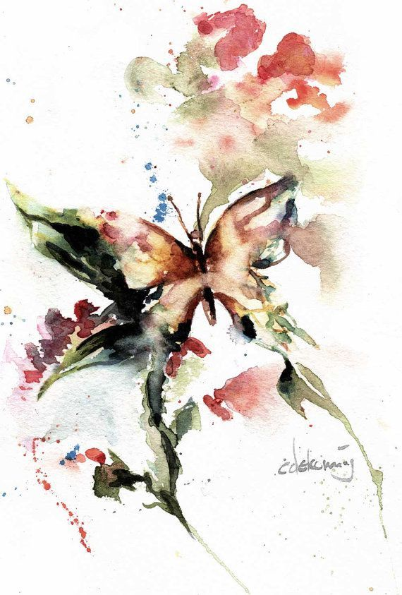 Watercolor Paintings Of Butterflies Vivace Butterfly On Red