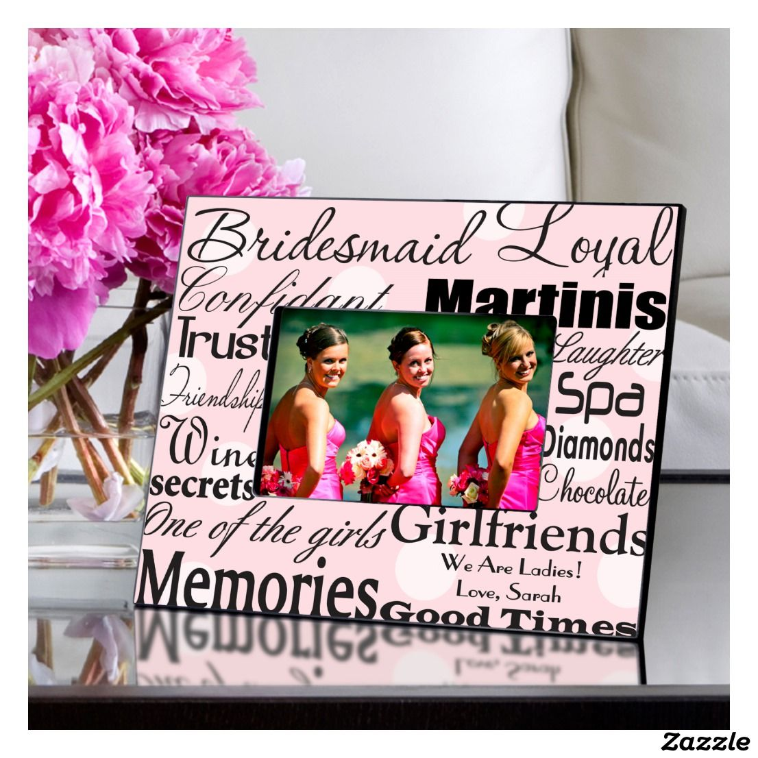 Bridesmaid Pink And White Polka Dot Picture Frame