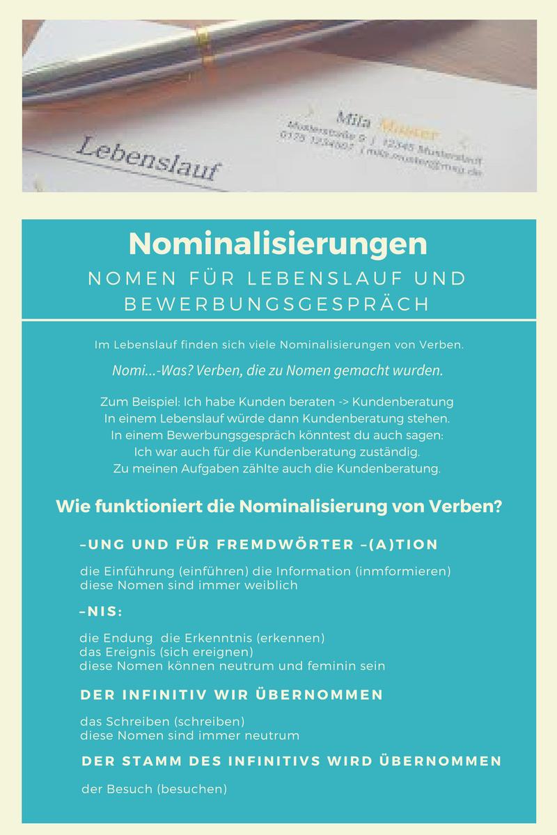 Nominalisierung Lebenslauf Bewerbungsgespräch Job interview Verben ...