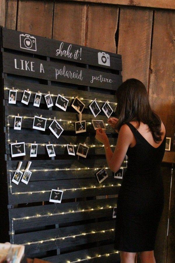 Schwarz DIY Polaroid Bild Hochzeitswand #Hochzeiten #Hochzeitsideen #Rustikale Hochzeiten …