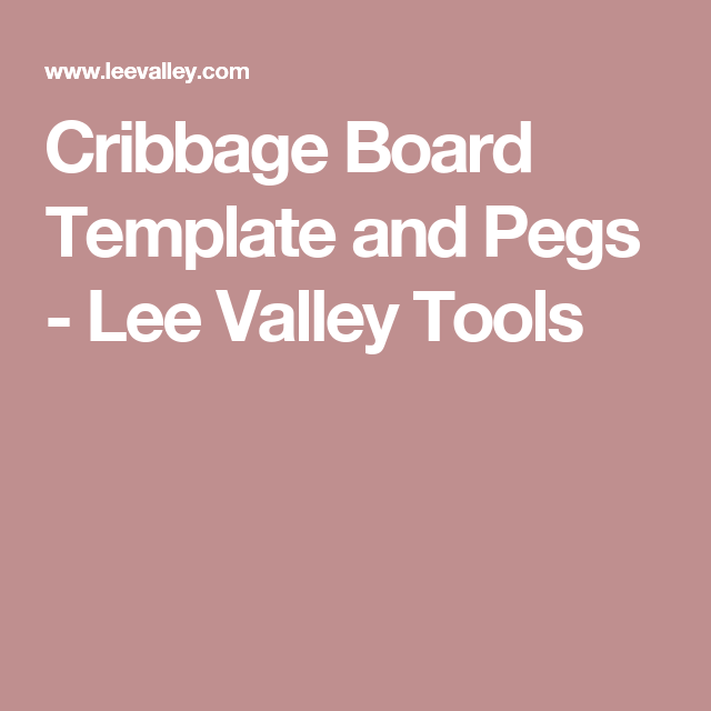Cribbage Board Template And Pegs