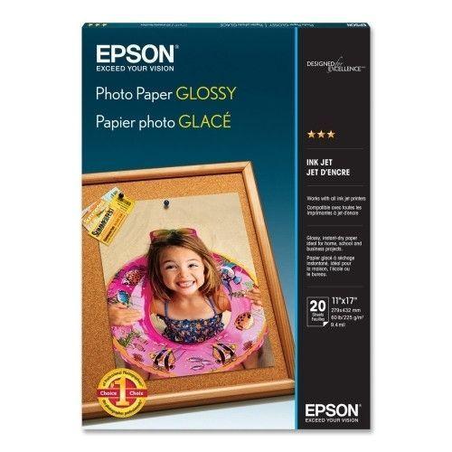 "Epson America Inc. Inkjet Photo Paper,Glossy,60 lb,9.4 mil,11""x17"",20/PK,WE"