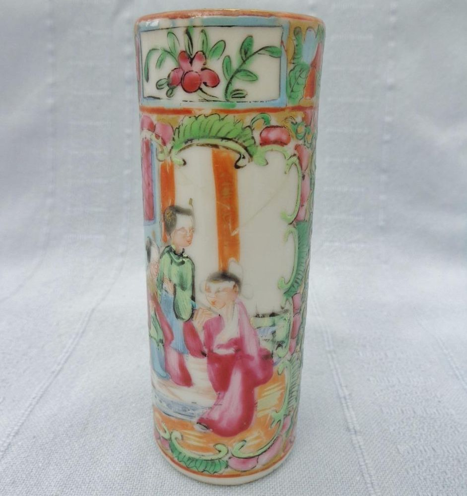 Antique chinese canton famille rose medallion vase brush pot hp antique chinese canton famille rose medallion vase brush pot hp c 1870 qing floridaeventfo Choice Image