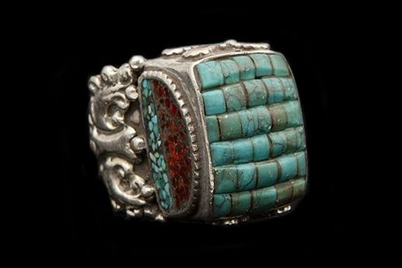 Nepalese Large Silvered Metal Decorated Ring Inlaid With Turquoise And Brown Glass
