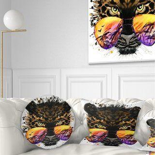 Designart 'Funny Jaguar with Sunglasses' Contemporary Animal Throw Pillow
