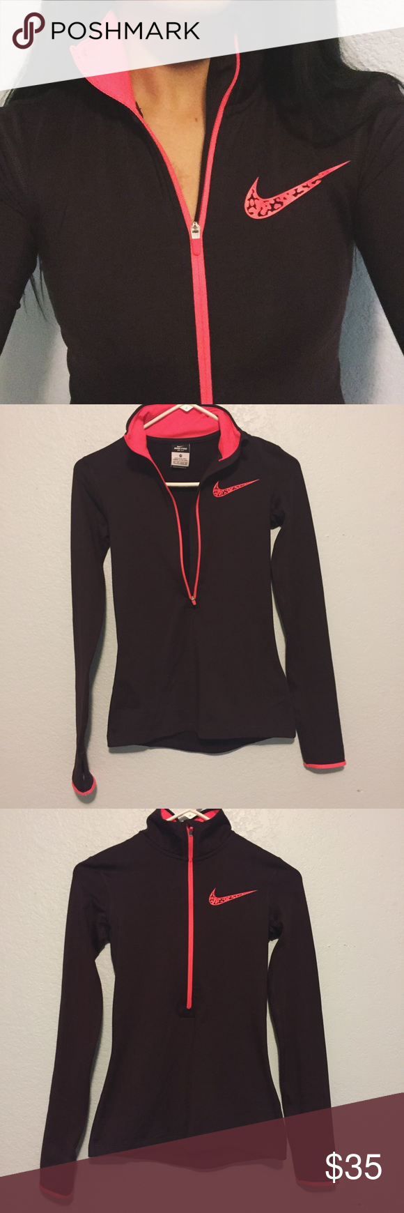 Nike Pro Maroon Athletic Zip Up Jacket Nike Pro Dark Maroon Zip Up Athletic Jacket with an orange/pink printed Nike logo. It is also orange/pink on the inside of the collar and on the edge of the sleeves. Size: XS Retails for: $65 Used but in a great condition. Nike Tops Sweatshirts & Hoodies