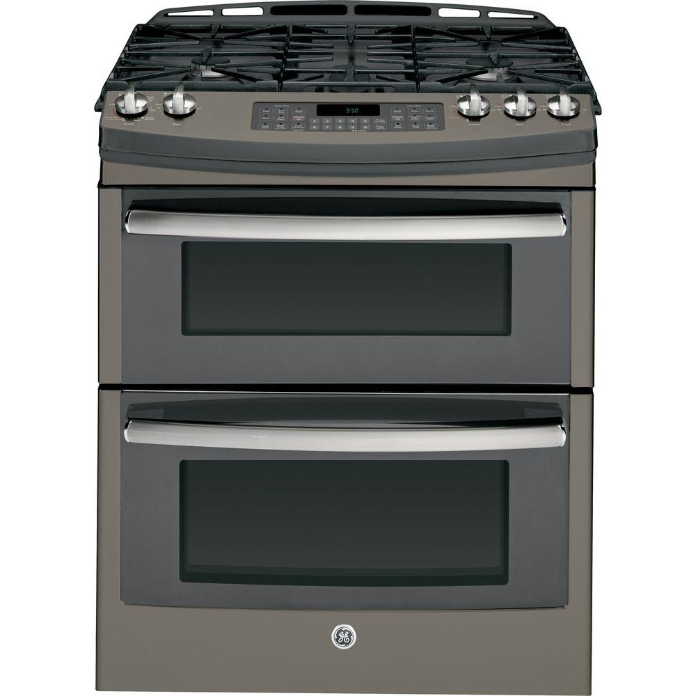 Double Oven Gas Range With Self Cleaning Convection In Slate Grey