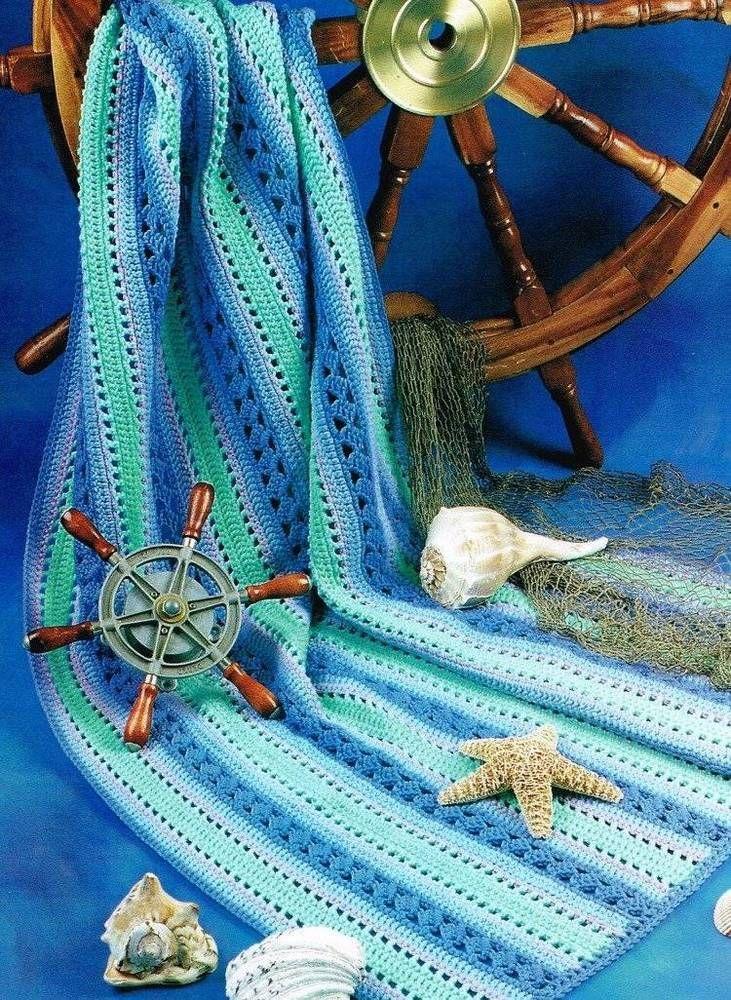 Striped Ocean Waves Afghan Crochet Pattern Blanket Throw