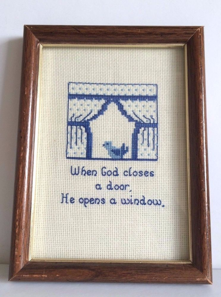Finished cross stitch Spring Bluebird When God Closes a Door ...