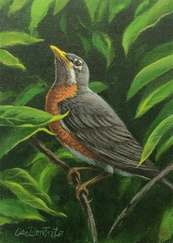 "Daily Paintworks - ""robin"" - Original Fine Art for Sale - © lisa bonforte"