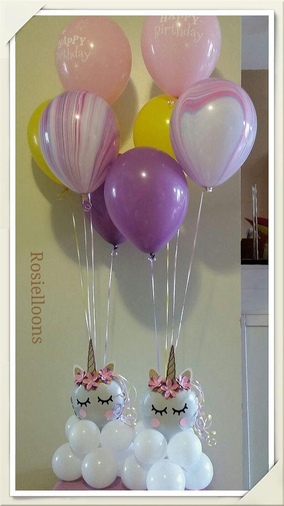 centro de mesa con globos para fiesta unicornio (3) centro mesa