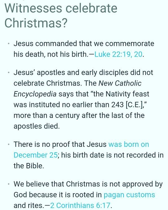 Why Jehovahs Witnesses do NOT celebrate christmas. Taken from jw ...