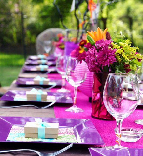 Elegant Purple Theme Table Decorations Birthday