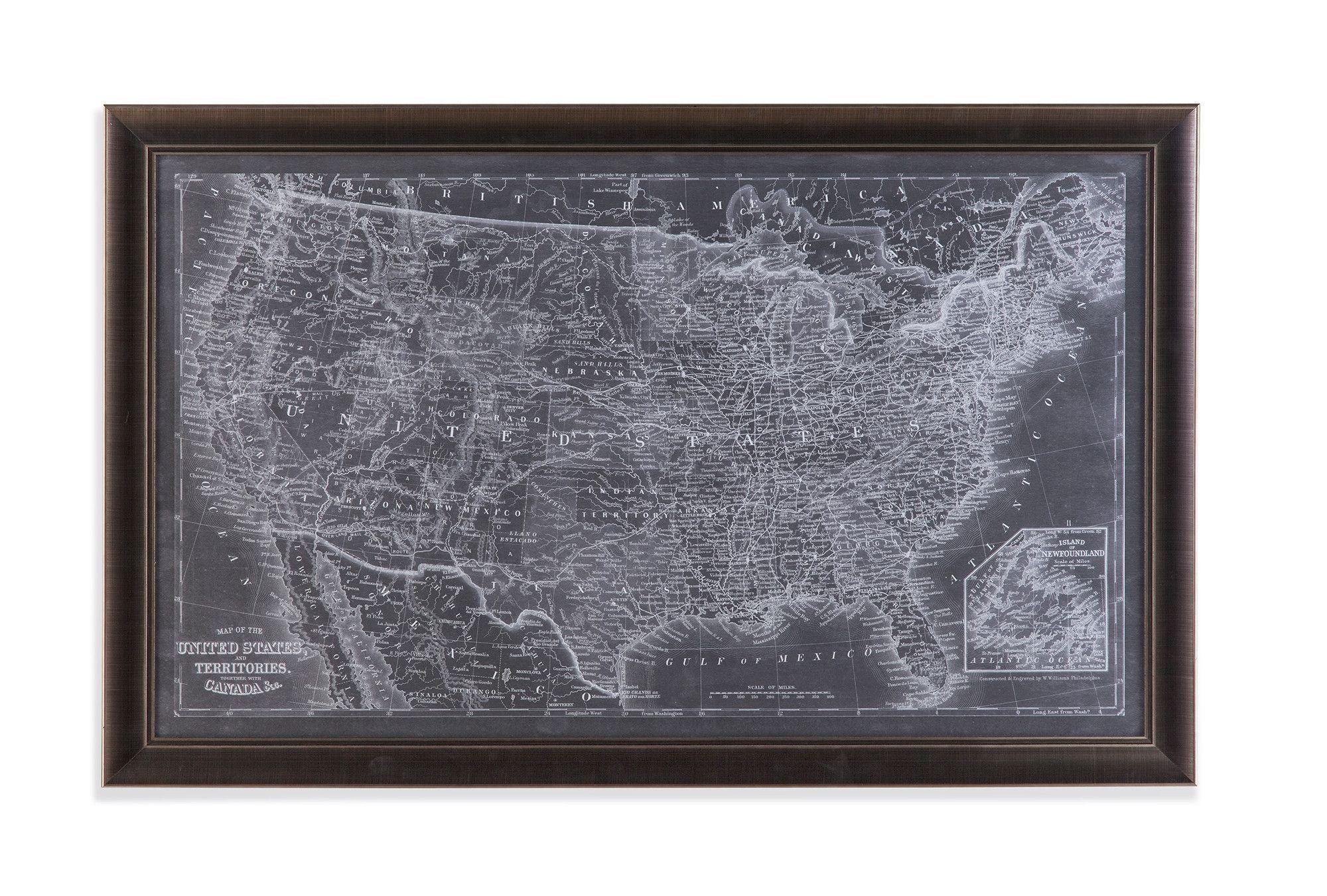 Bassett Mirror US Map Blueprint Framed Art EC Art - Us map framed
