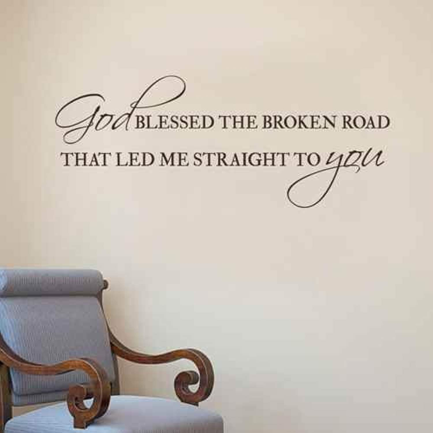 God blessed the broken road decal vinyl wall decal quote christian