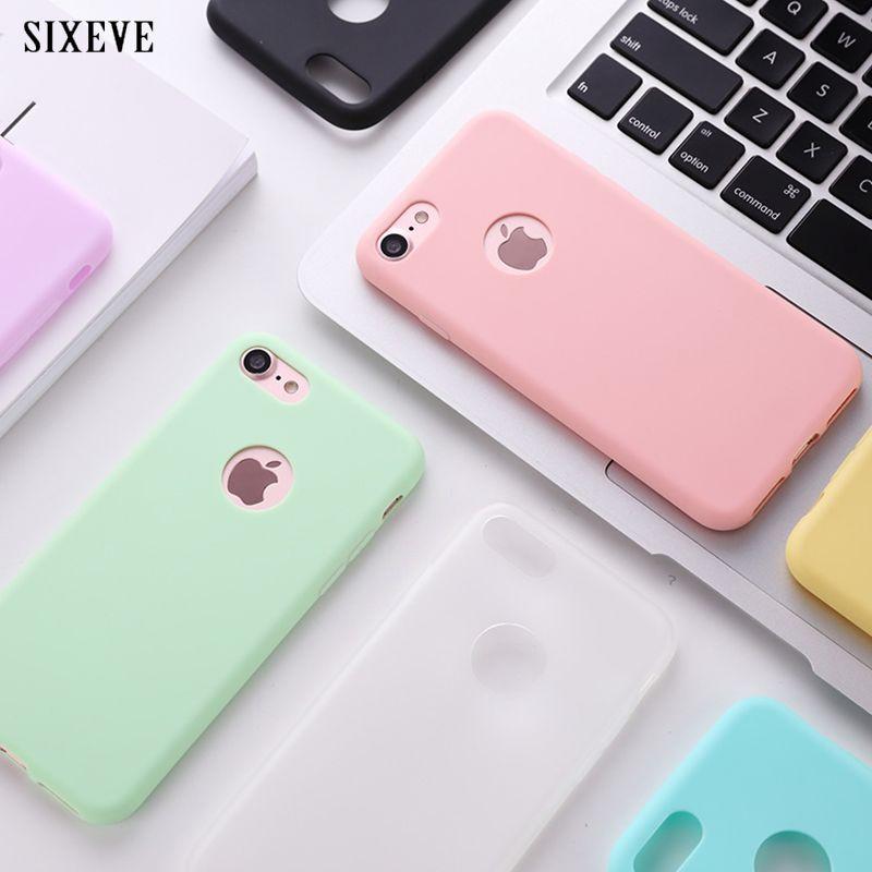 b28d8f38018 satın almak SIXEVE Orijinal Yumuşak Silikon Kılıf iphone 6 S 6 S 7 8 artı 5  5 S X 10 6 Artı 6 SPlus 7 Artı Sevimli Şeker Anti-vurmak kauçuk kapak