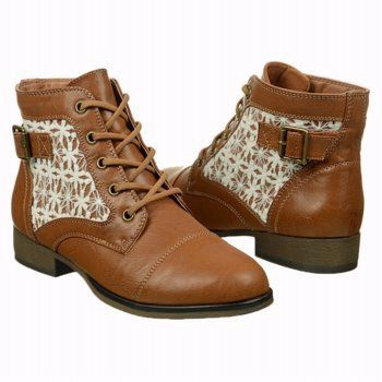 This casual, lace-up ankle boot with a cap toe features crocheted ...