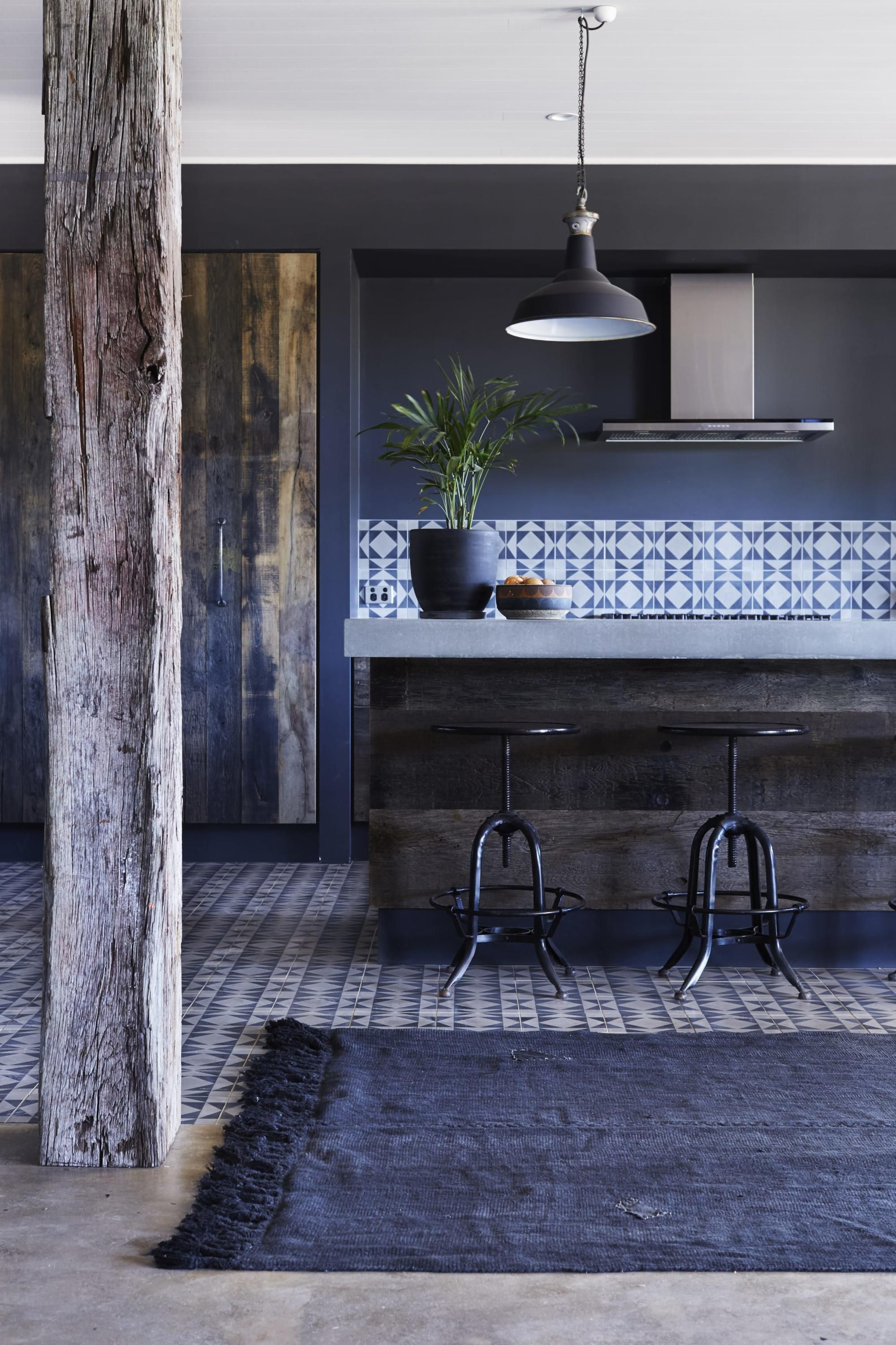 Love this rustic kitchen featuring cement tiles and bench top and ...