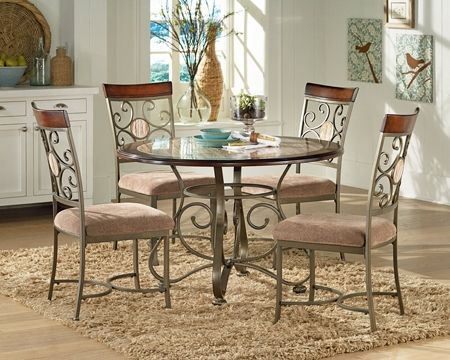 Thompson 45 Inch Round Dining Set Sku 9906188 Round Dining Table W Faux Marble Inlay 45 0 Round Marble Dining Table Round Dining Table Sets Dining Table
