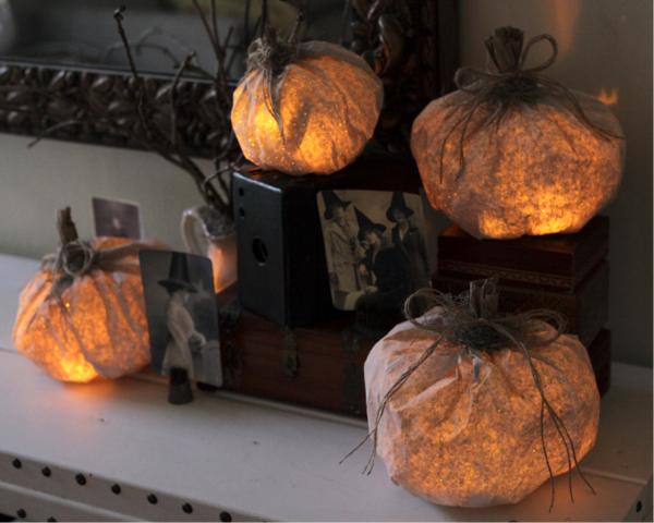 How to make a paper bag pumpkin light
