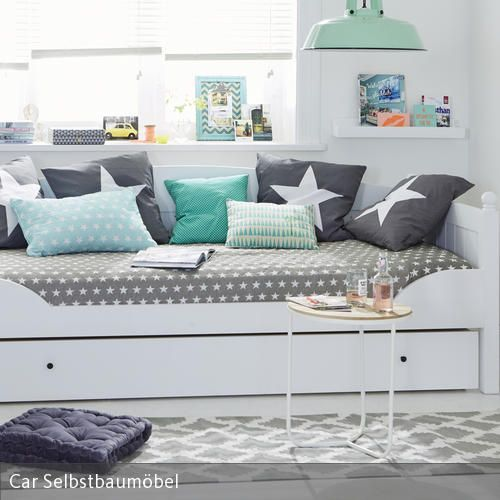 jugendzimmer in grau-blau einrichten | weißes bett, jugendzimmer, Hause deko