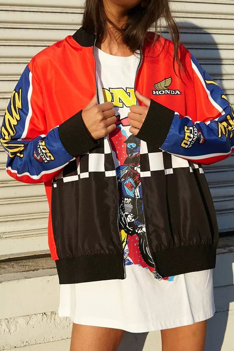 Honda Graphic Bomber Jacket Forever21 Ropa Ropa Streetwear Moda [ 1125 x 750 Pixel ]