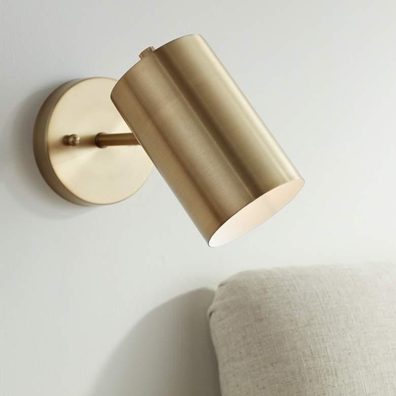Carla Polished Brass Down Light Hardwire Wall Lamp 63t08 Lamps Plus Modern Wall Lamp Wall Lamp Wall Lamps Bedroom