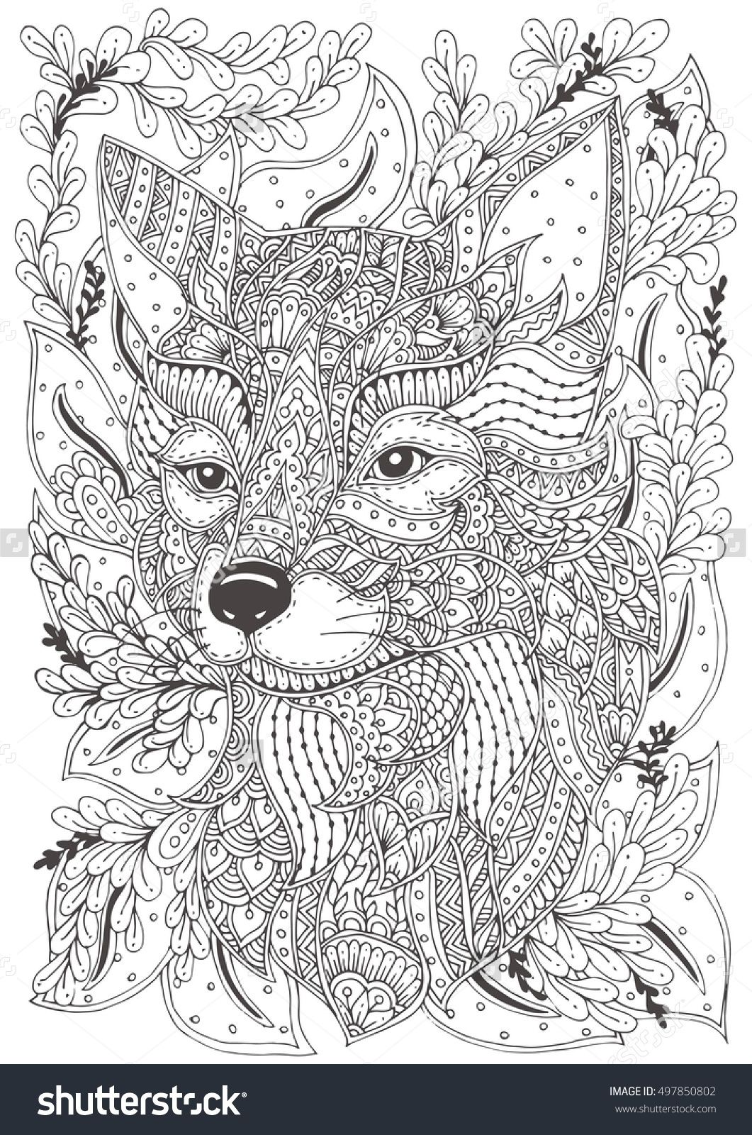fox hand drawn with ethnic floral doodle pattern coloring page zendala design for spiritual. Black Bedroom Furniture Sets. Home Design Ideas