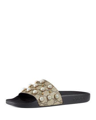 1def73600 Pursuit+Pearly-Studded+GG+Supreme+Slide+Sandal,+Beige+by+Gucci +at+Bergdorf+Goodman.