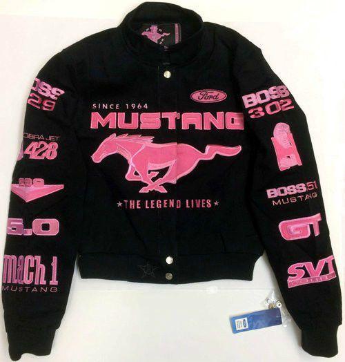 Ford Mustang Pink Ladies Jacket Mustang Racing Logos Jacket