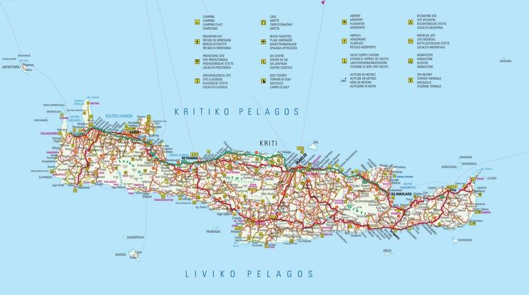 Crete tourist attractions map Maps Pinterest Crete and Greece