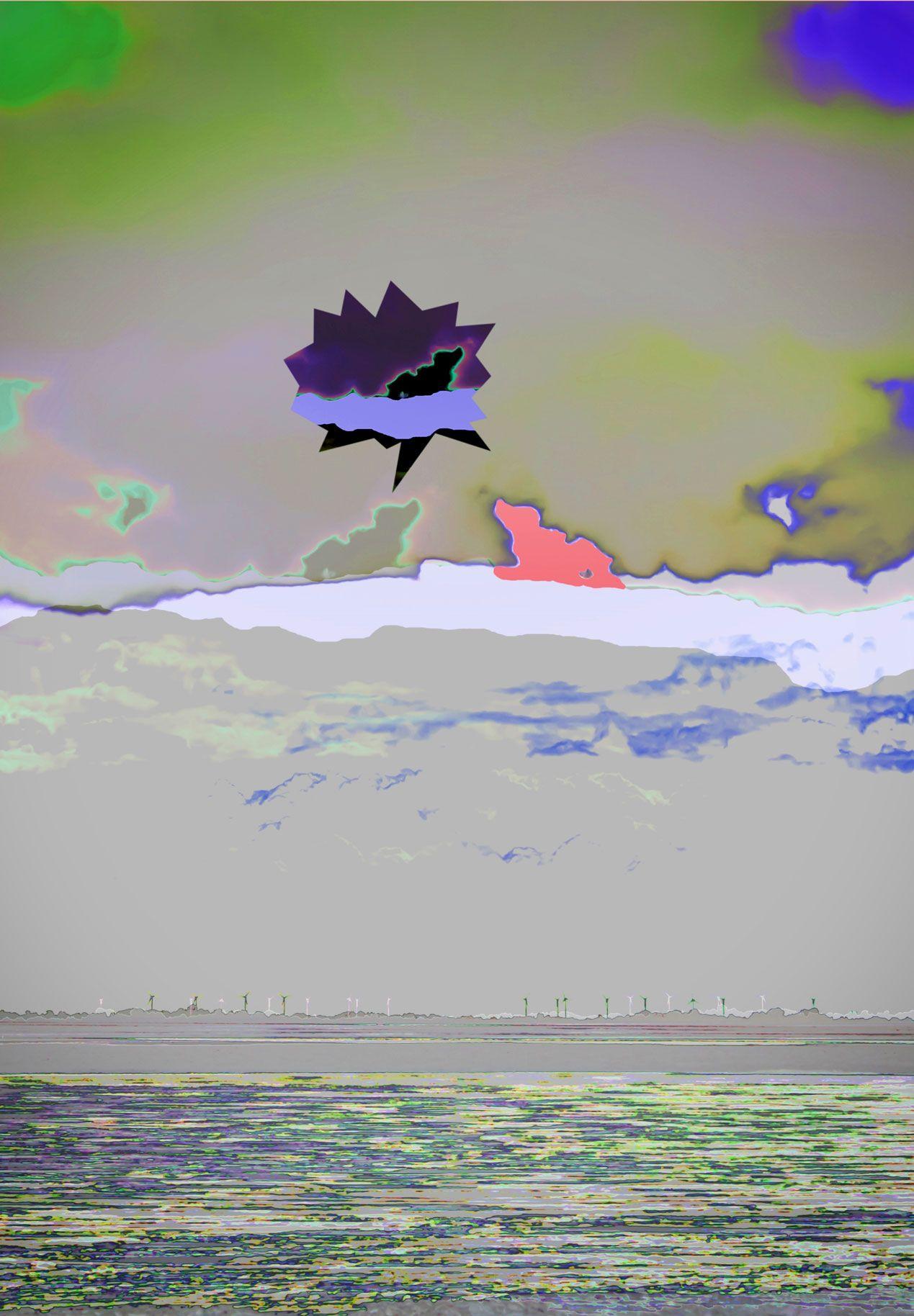 Bei der Bearbeitung entstand zufällig ein Umriß, der aussieht wie ein Zwerg auf der Wolke und wurde zum Thema dieses Bildes. DigitalArt 1