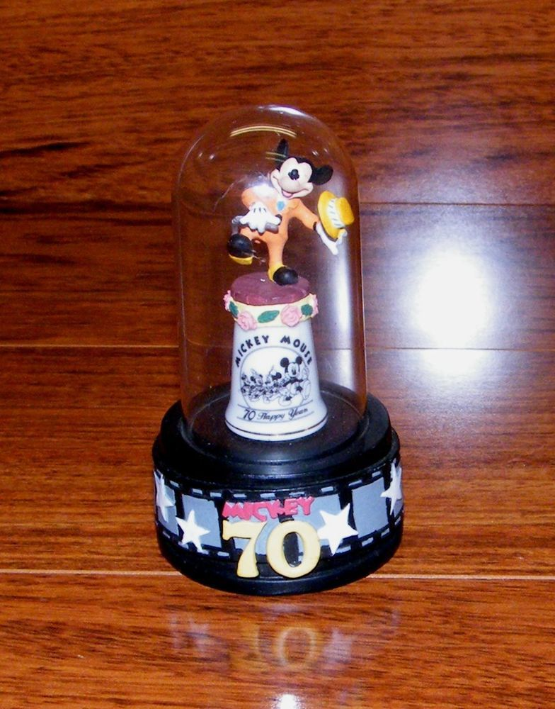 Disney Collectable Mickey Mouse 70 Happy Years Hand Painted Thimble With Stand