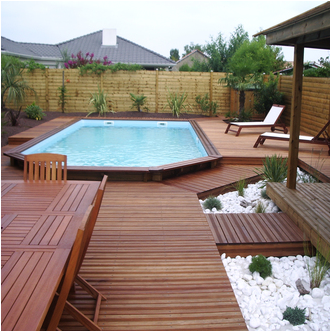 Piscine hors sol bois recherche google pool decks for Piscine hexagonale semi enterree