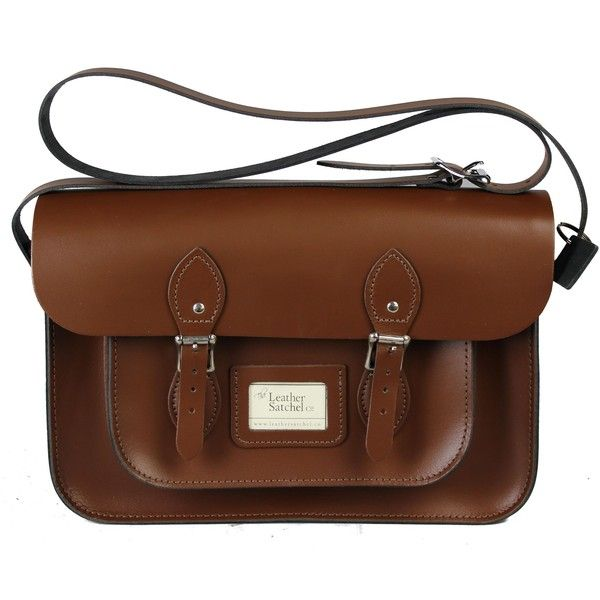 14-inch Classic Satchel made from Chestnut Brown Leather (£115) ❤ liked on Polyvore featuring bags, handbags, leather satchel purse, brown satchel handbag, brown leather purse, genuine leather purse and brown leather satchel