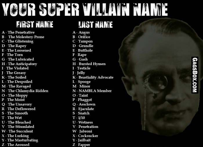 Funny Clean Names: What's Yours Super Villain Name?