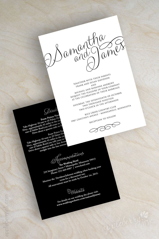 Black and white plain cursive script wedding invitations wedding ...